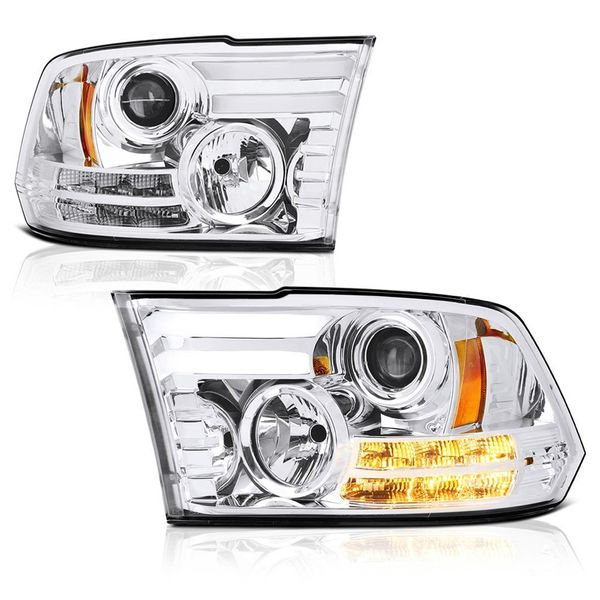 09-2018 Dodge RAM DRL LED Bar Projector Headlights - Chrome