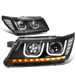 09-17 Dodge Journey Black Housing Clear Corner LED Halo DRL+Turn Signal Projector Lens Low Beam Headlight
