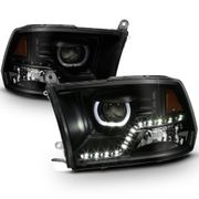 09-2018 Dodge RAM 1500 / 10-17 2500 3500 LED LED DRL Halo Projector Headlights - Black Smoked