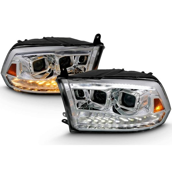 09-18 Dodge RAM 1500 2500 3500 LED DRL Projector Headlights - Chrome