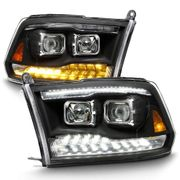09-18 Dodge Ram 1500 [Dual Projector Style] LED DRL/Turn Headlights Projector Headlights - Black