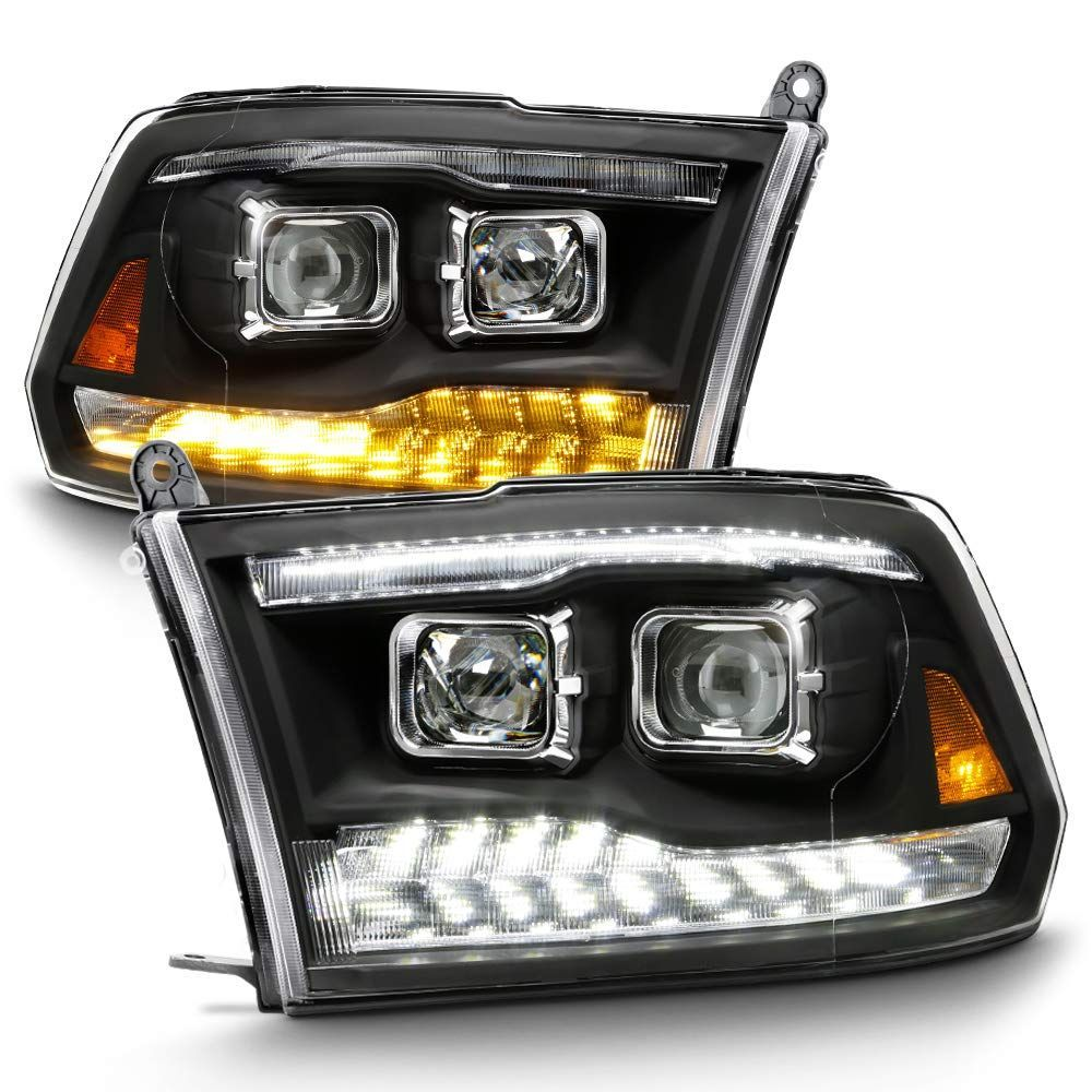 For 09-18 Dodge Ram 1500 2500 3500 Dual Projector LED DRL Headlights With Light bulbs Factory Upgrade