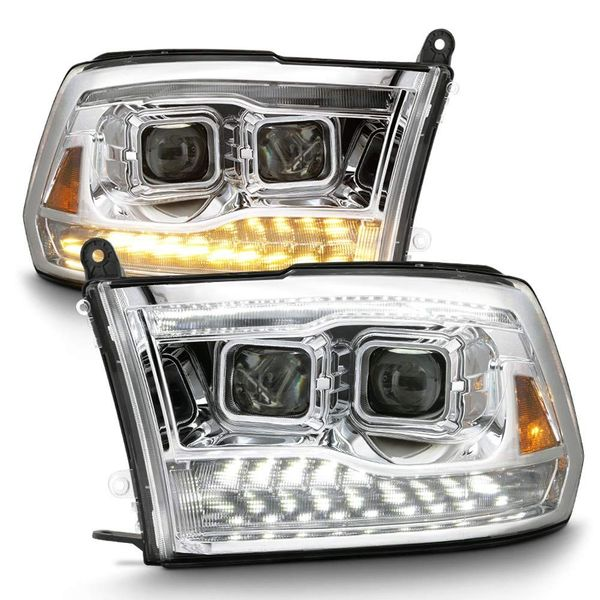 09-18 Dodge Ram 1500 [Dual Projector Style] LED DRL/Turn Headlights Projector Headlights - Chrome