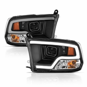 09-18 Dodge RAM LED DRL Projector Headlights - Black Clear