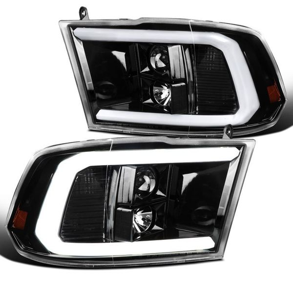 09-18 Dodge RAM Pickup Gloss Black LED DRL Tube Projector Headlights