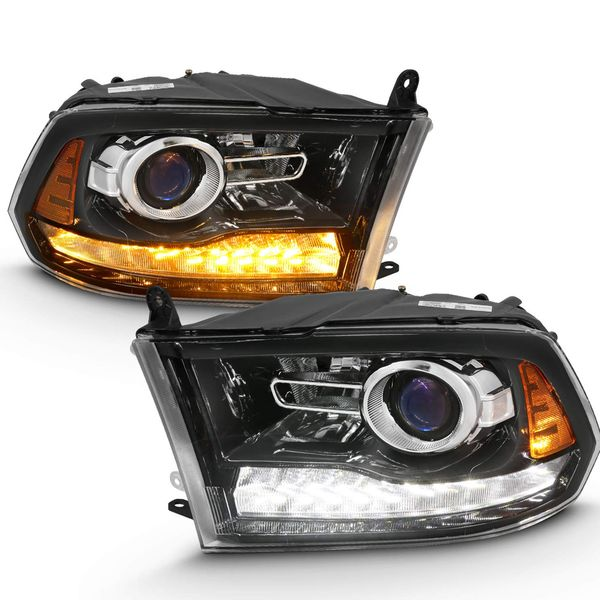 09-18 Dodge RAM Switchback LED Signal / DRL Projector Headlights - Black Clear