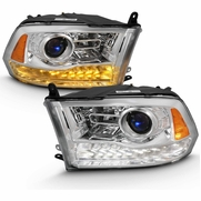 09-18 Dodge RAM Switchback LED Signal / DRL Projector Headlights - Chrome Clear