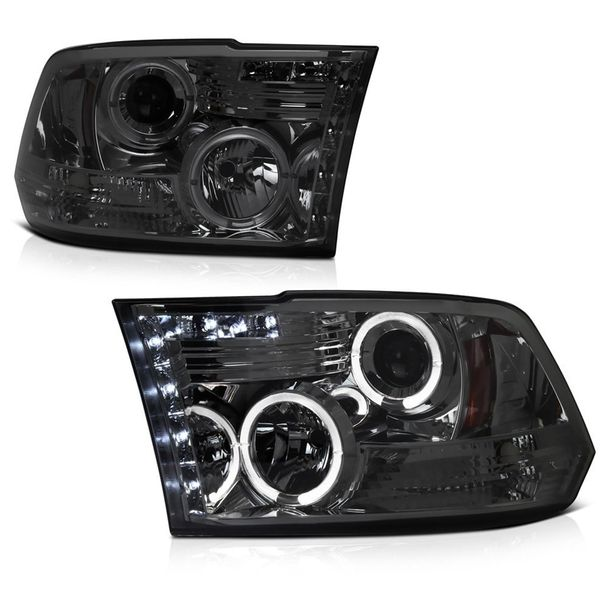 Spyder® 2009-2018 Dodge Ram Halo & LED Projector Headlights- Smoked Lens