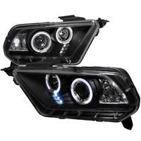 10-14 Ford Mustang Dual Angel Eye Halo & LED projector Headlights - Black