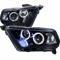 10-14 Ford Mustang Dual Halo & LED Projector Headlights - Smoked