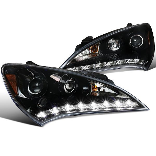 10-12 Hyundai Genesis R8 Style LED Strip Projector Headlights - Glossy Black / Clear Lens