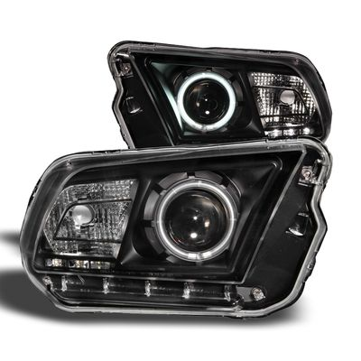 2010-2014 Ford Mustang CCFL Angel Eye Halo Projector Headlights - Black