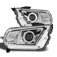 2010-2014 Ford Mustang CCFL Angel Eye Halo Projector Headlights - Chrome
