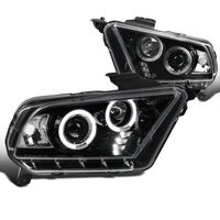 10-14 Ford Mustang Dual Halo & LED Projector Headlights - Gloss Black / Clear Lens