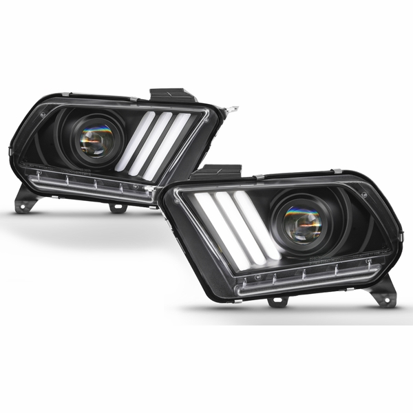10-14 Ford Mustang Sequential LED Signal / DRL Projector Headlights - Black