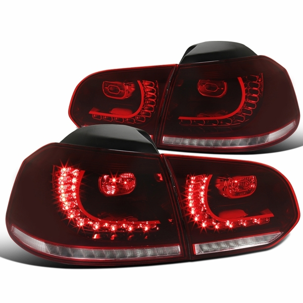 10-14 VW Golf / GTI Sequential Turn-Signal LED Tail Lights - Red / Clear