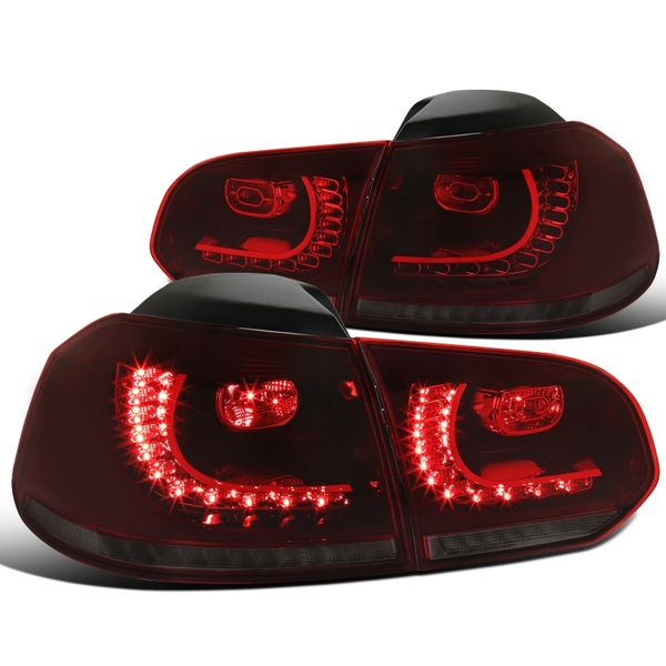 10-14 VW Golf / GTI Sequential Turn-Signal LED Tail Lights - Red / Smoked