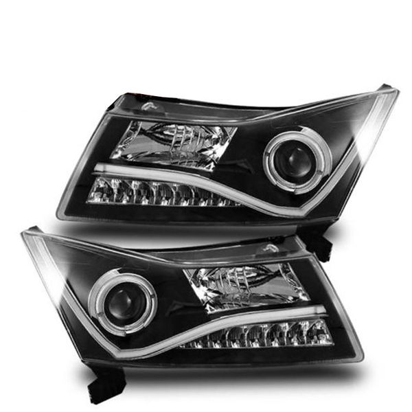 11-12 Chevy Cruze Halo LED Strip Projector Headlights - Black