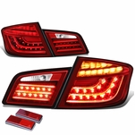 11-13 BMW F10 5-Series Pair of 3D LED Tail Brake Lights (Red Housing Clear Lens)