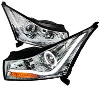 2011-2014 Chevy Cruze Angel Eye Halo & LED DRL Strip Projector Headlights - Chrome
