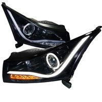 2011-2014 Chevy Cruze Angel Eye Halo & LED DRL Strip Projector Headlights - Gloss Black