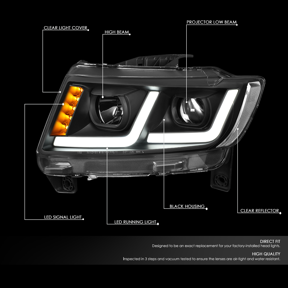 11-13 Jeep Grand Cherokee [Halogen Model] LED DRL Projector