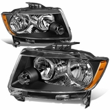 11-13 Jeep Grand Cherokee [Halogen Model] Replacement Headlights - Black / Amber