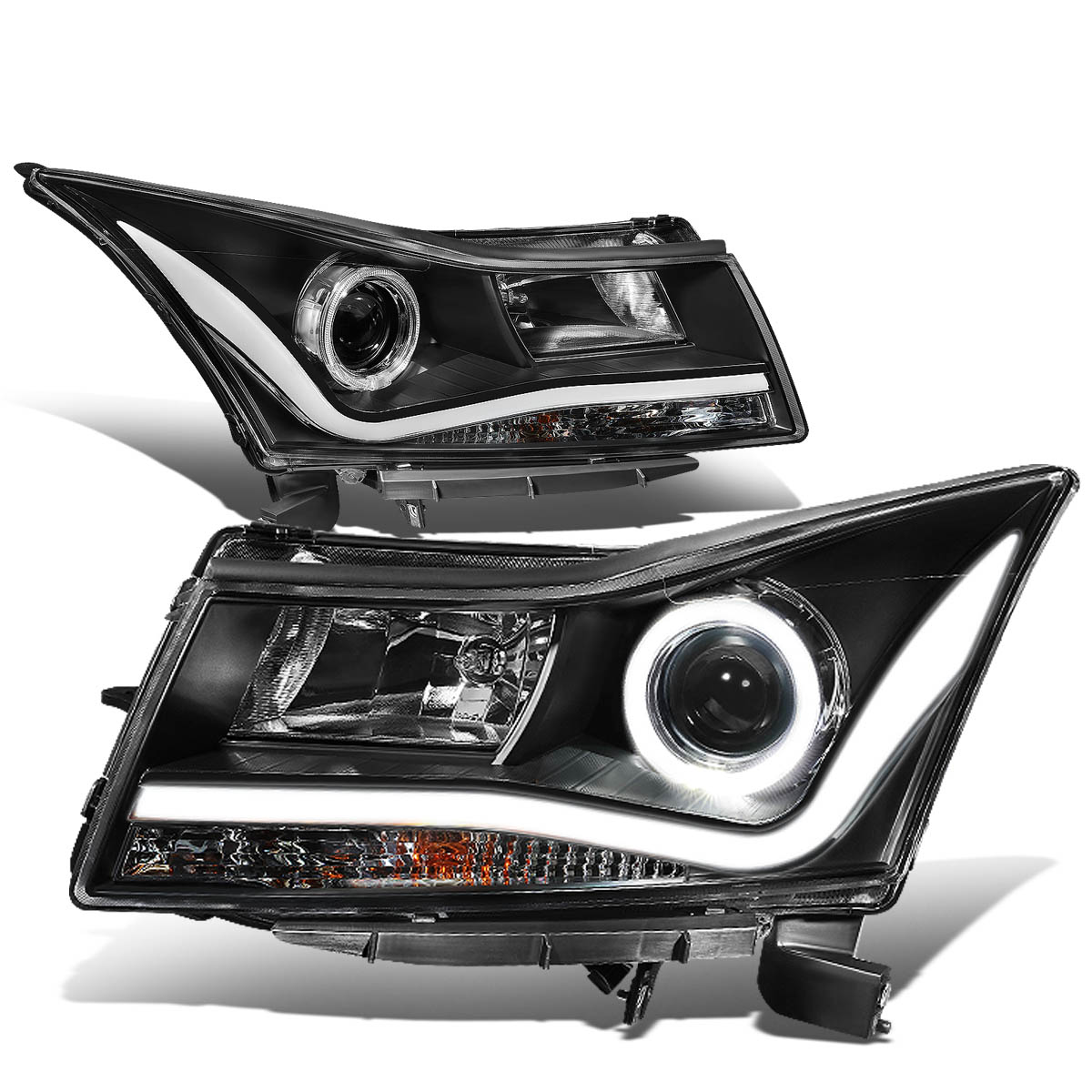 11-15 Chevy Cruze Black LH+RH 3D LED DRL+Halo Ring Projector