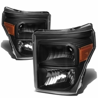11-15 Ford F250 F350 F450 Superduty Replacement Crystal Headlights - Black Amber