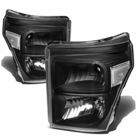 11-15 Ford F250 F350 F450 Superduty Replacement Crystal Headlights - Black Clear
