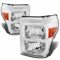 11-15 Ford F250 F350 F450 Superduty Replacement Crystal Headlights - Chrome Amber