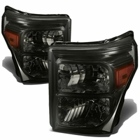 11-15 Ford F250 F350 F450 Superduty Replacement Crystal Headlights - Smoked Amber