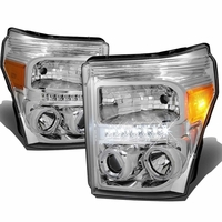 11-15 Ford F250 F350 Superduty Halo & LED Projector Headlights -Chrome