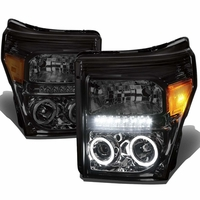 11-15 Ford F250 F350 Superduty Halo & LED Projector Headlights -Smoked