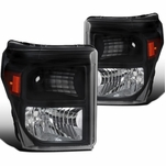 11-16 Ford F250 F350 F450 F550 SuperDuty Black Headlights