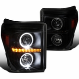 11-16 Ford F250 F350 Super Duty Black Smoke LED Signal Halo Projector Headlights