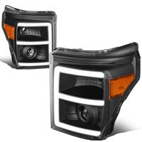 11-16 Ford F250 F350 Super Duty LED DRL Projector Headlights - Black Amber