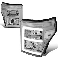 11-16 Ford F250 F350 Super Duty LED DRL Projector Headlights - Chrome Clear