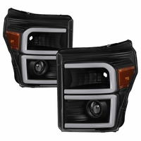 11-16 Ford F250-F450 Super Duty LED DRL Tube Projector Headlights - Black
