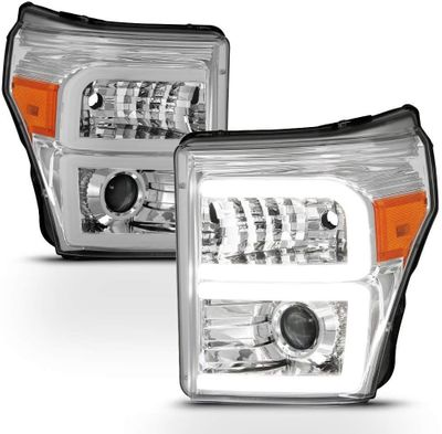 11-16 Ford F250-F450 Super Duty LED DRL Tube Projector Headlights - Chrome