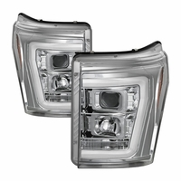 11-16 Ford F250~F550 LED C-Tube Projector Headlights - Chrome