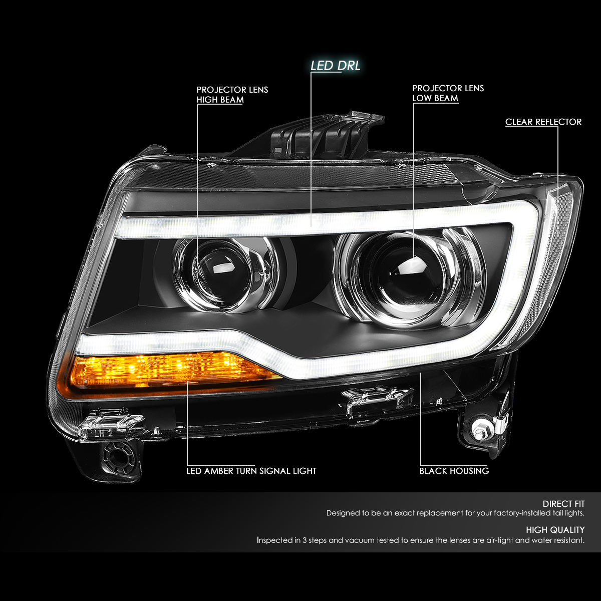 11-16 Jeep Compass Black Housing LED DRL Projector Headlight