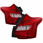 12-14 Ford Focus Hatchback Sequential LED Tube Tail Lights - Red Clear