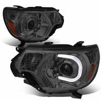 12-15 Toyota Tacoma L+R LED DRL Projector Headlights - Smoked/Amber