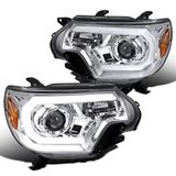 12-15 Toyota Tacoma LED DRL Tube Projector Headlights - Chrome