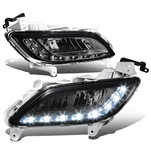 12-16 Hyundai Veloster Pair of Bumper Driving Fog Lights w/White LED DRL (Smoked Lens)