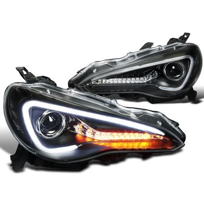 12-17 Scion FR-S Black Sequential LED Turn Signal Projector Headlights