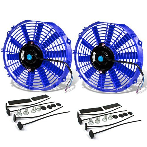 "7"" - 16"" High Performance Blue Electric Radiator Cooling Fan Assembly Kit (Pack of 2)"