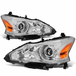 13-15 Nissan Altima [Halogen Model Only] OE-Style Replacement Headlights  - Chrome / Amber