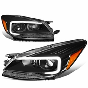 13-16 Ford Escape LED DRL Tube Projector Headlights - Black / Amber